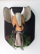 Image of Deer Bust with Pinecone Wreath and Silk Velvet Bow