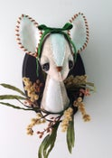 Image of Doe Bust with Wildflowers and Green Silk Velvet Bow