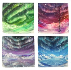"Image of 1 Set of 4 ""Aurora"" Original Painting Coasters"