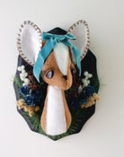 Image of Doe Bust with Flowers and Blue Silk Velvet Bow