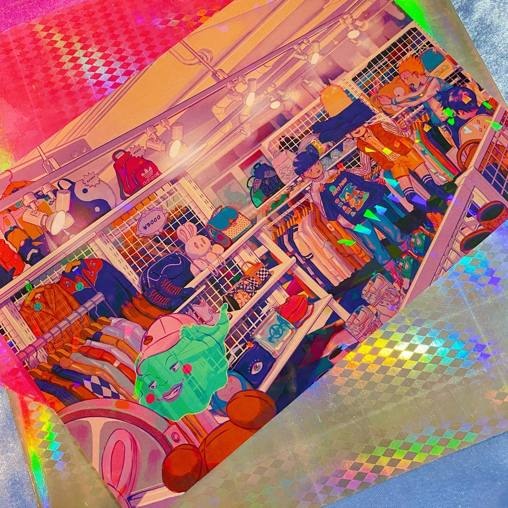 Thrift Shopping Mob Holographic Print