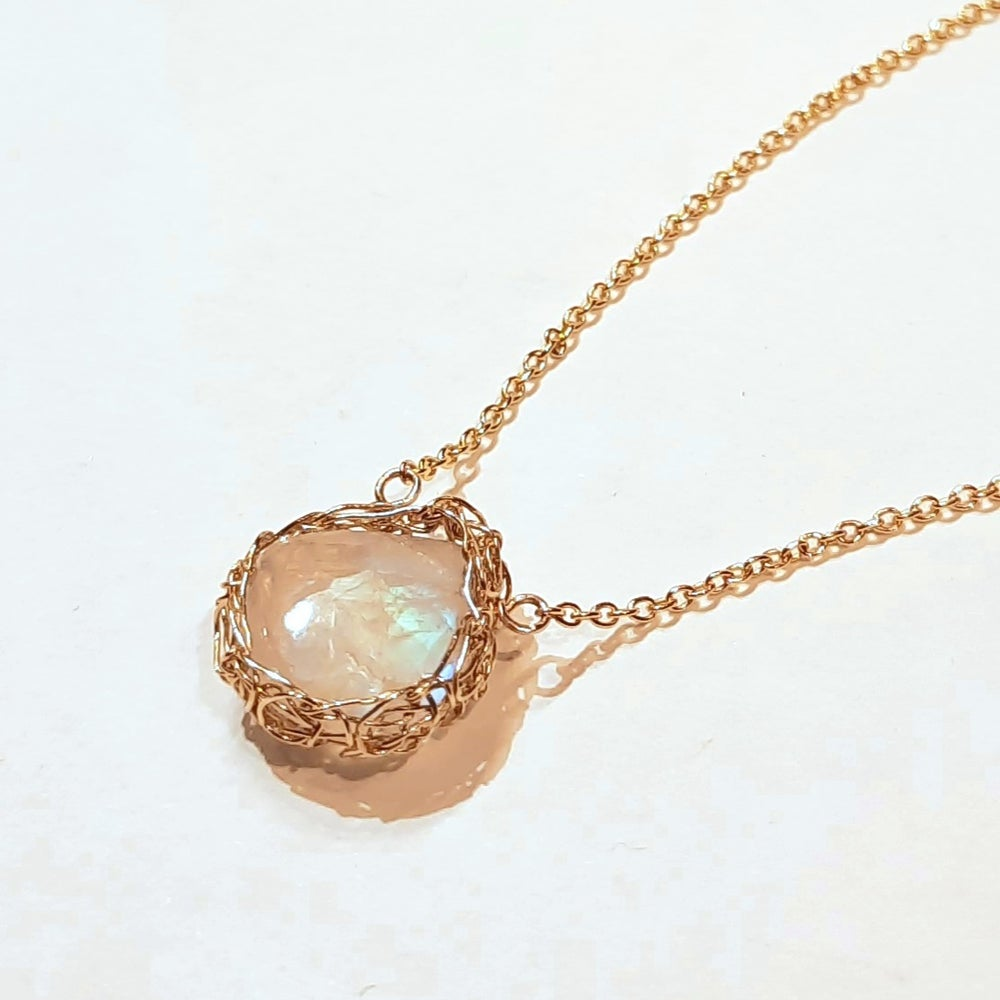 Image of Gold Crochet and Rainbow Moonstone Necklace