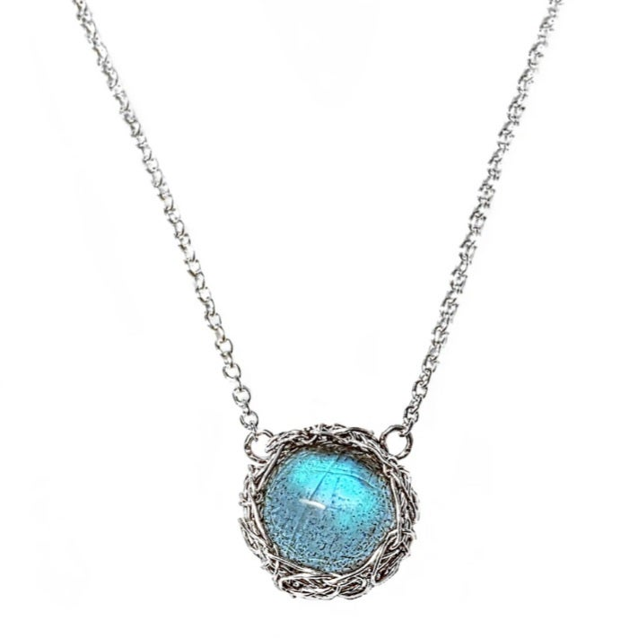 Image of Dainty Sterling Crochet and Labradorite Necklace