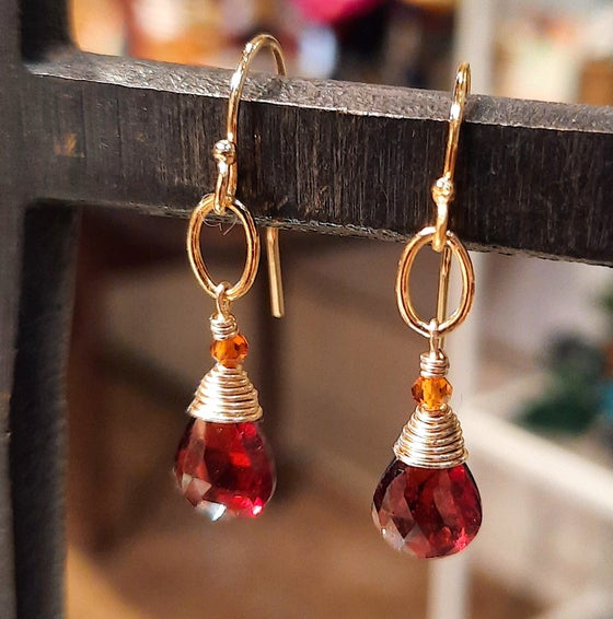 Image of Gold, Garnet and Citrine Earrings