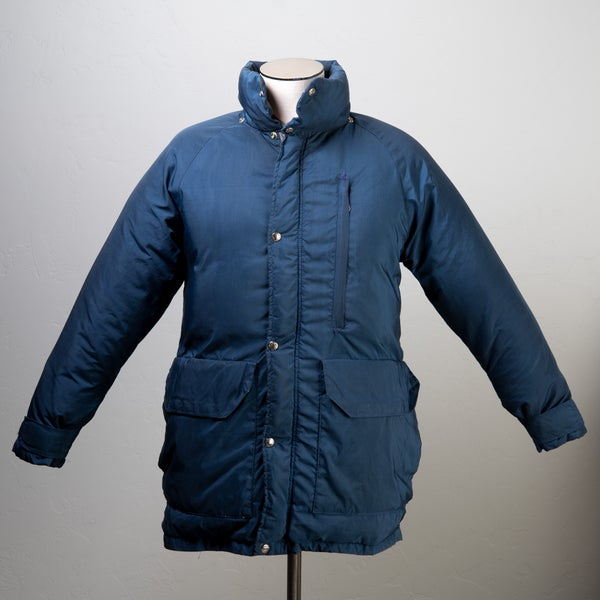 Image of Vintage 1970's North Face SEROW Blue Goose Down Long Parka Brown Label Size Medium