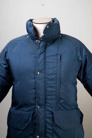 Image of Vintage 1970's North Face SEROW Blue Goose Down Long Parka Brown Label Size Medium