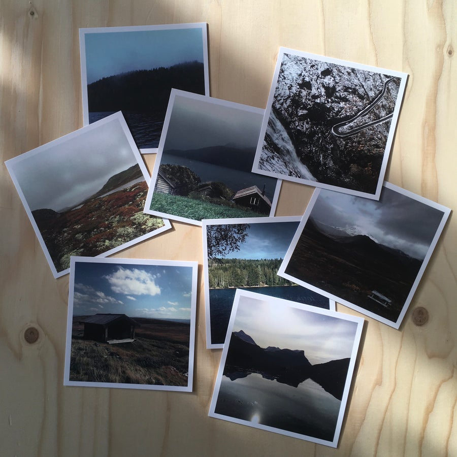 Image of 8 mini-square postcards 'Coral Dusk'