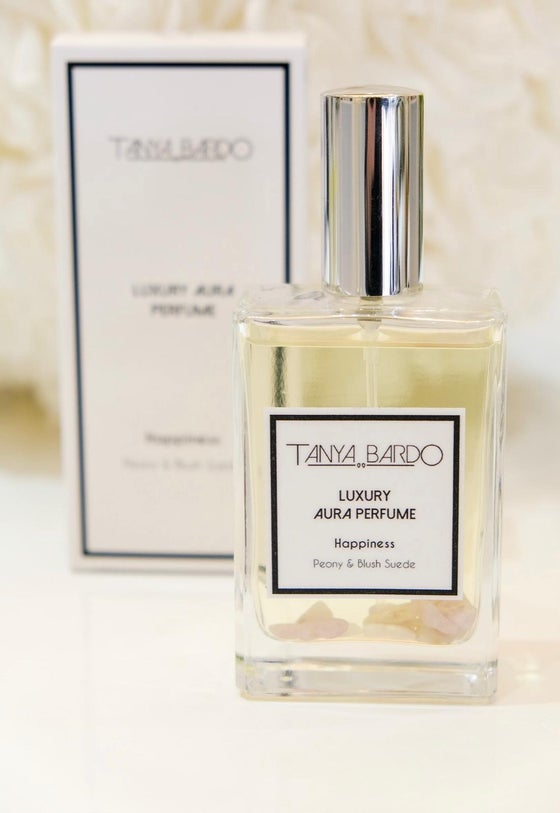 Image of NEW Happiness - Luxury Aura Perfume - Peony and Blush Suede + Free Candle