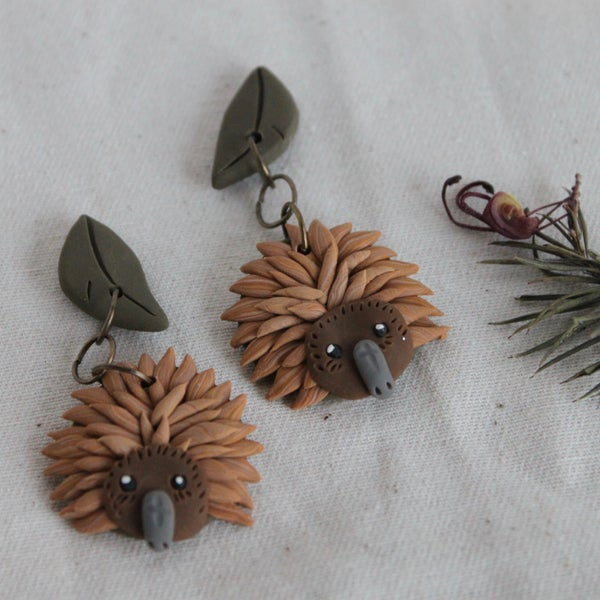 Image of Echidna on Gumleaf Earrings