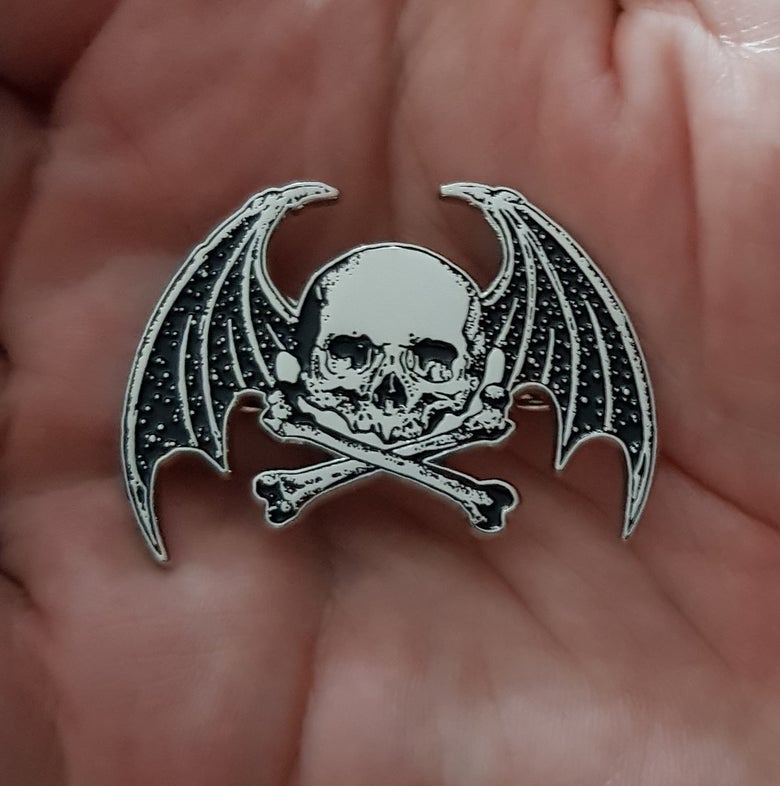 Image of Wings of Death limited edition shaped enamel pin