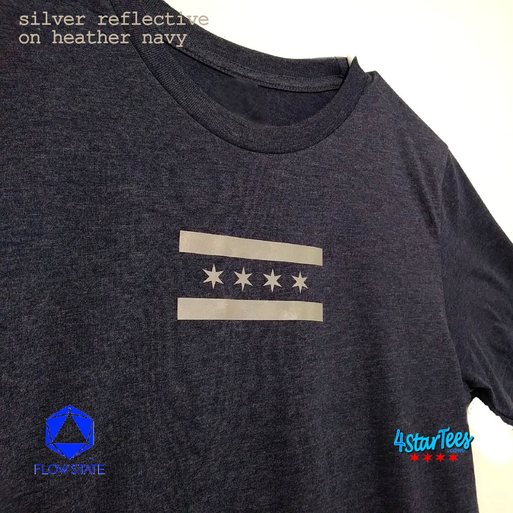 Image of CHI FLY - Chicago Reflective Flag on Heather Black