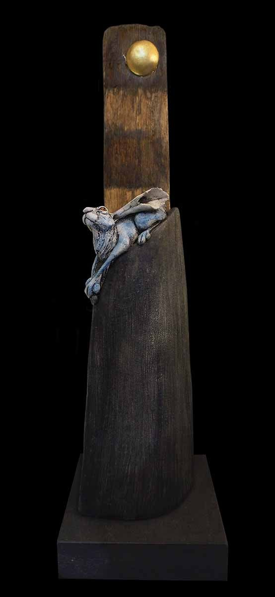 Image of CHRISTINE PIKE - 'HARE ON THE HILL' - UNIQUE SCULPTURE