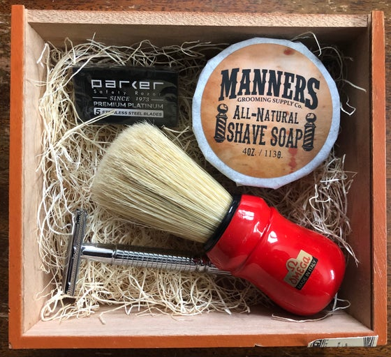 Image of SHAVING SET: Chrome Safety Razor, 4oz Shave Soap, Omega Shave Brush & 5pk of Blades