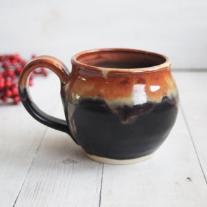Image of Satin Black and Shiny Brown Mug, Stoneware Pottery Coffee Cup, Made in USA - A