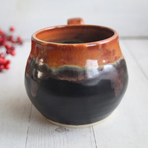 Image of Satin Black and Shiny Brown Pottery Mug, Curvy Stoneware Coffee Cup, Made in USA - B