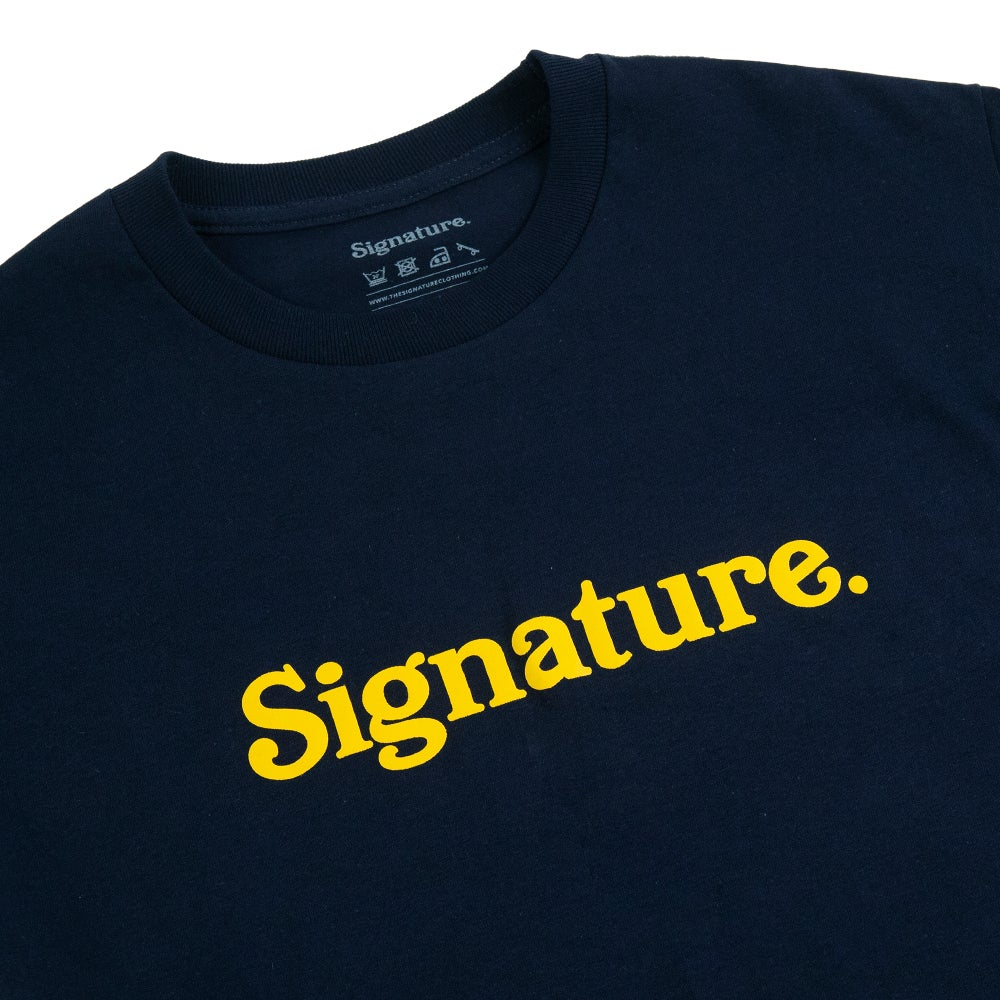 Image of LOGO  T SHIRT - NAVY / YELLOW