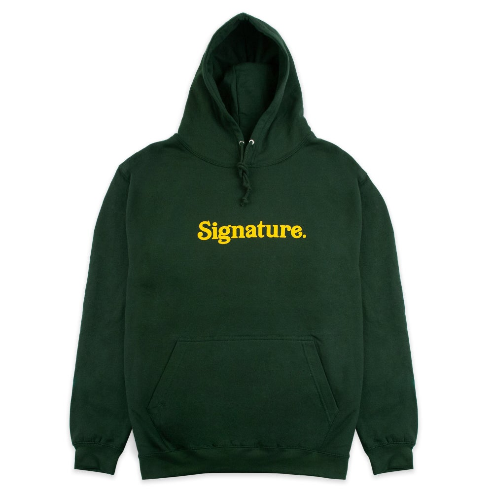 Image of LOGO HOODIE - FOREST GREEN / YELLOW