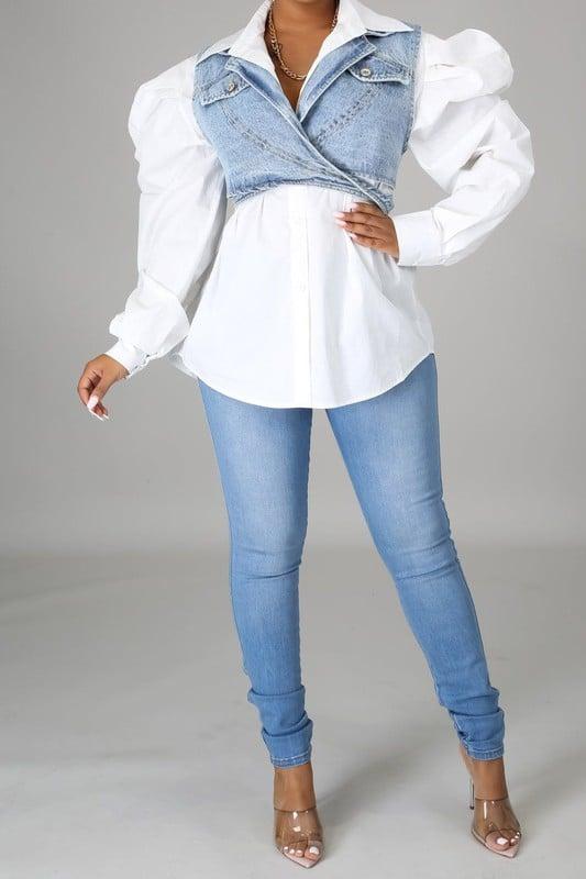 Image of Luxe Denim Vest Set
