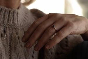 Image of 18ct gold, hexagonal dark grey diamond ring IOW162