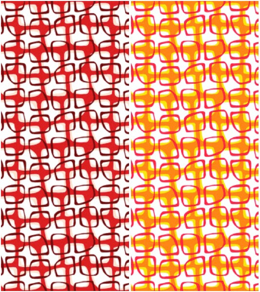 Abstract Garden Trellis by the Yard - select Red or Orange