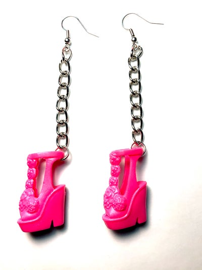 Image of Pink Platform Barbie Shoe Earrings