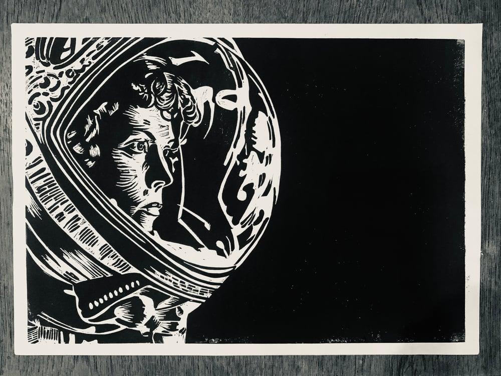 Image of Alien Duo Lino print