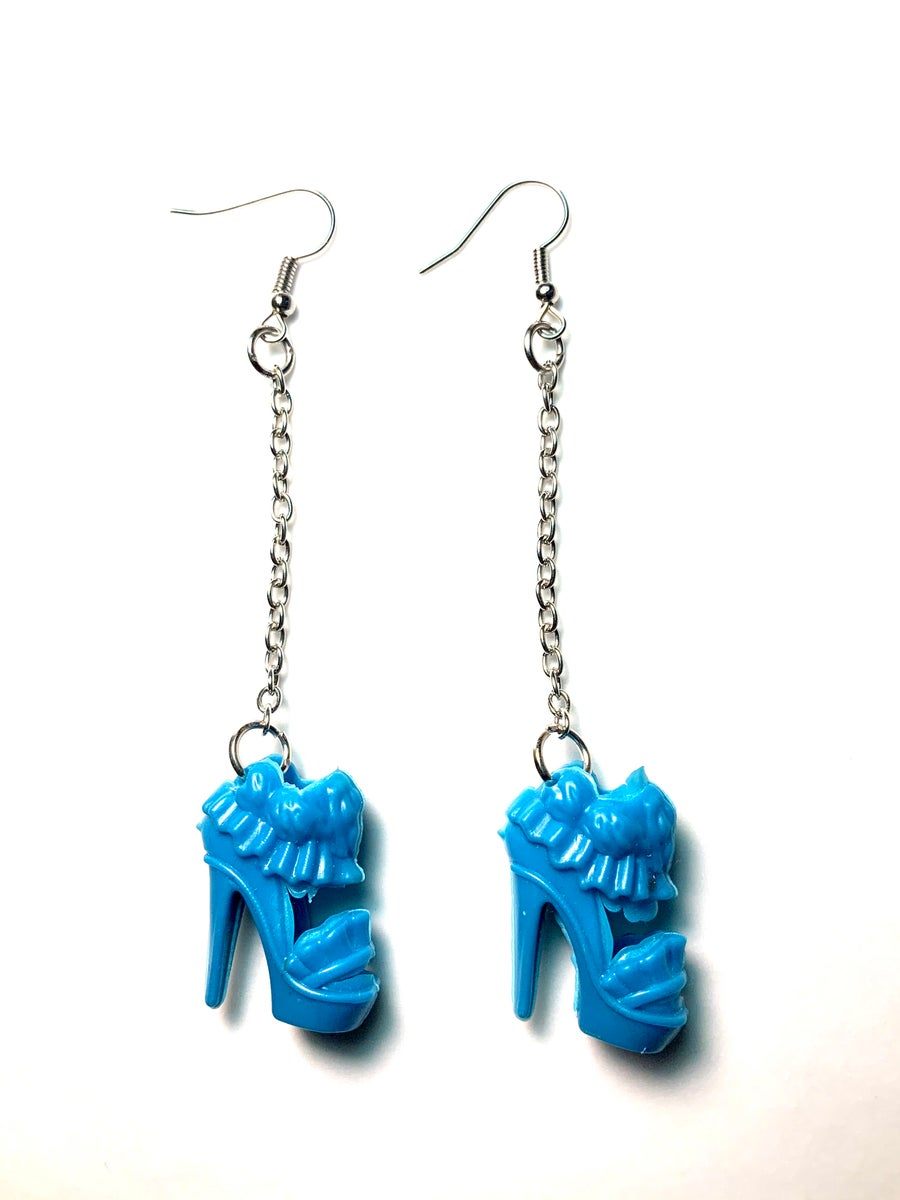 Image of Blue Heels Barbie Shoe Earrings