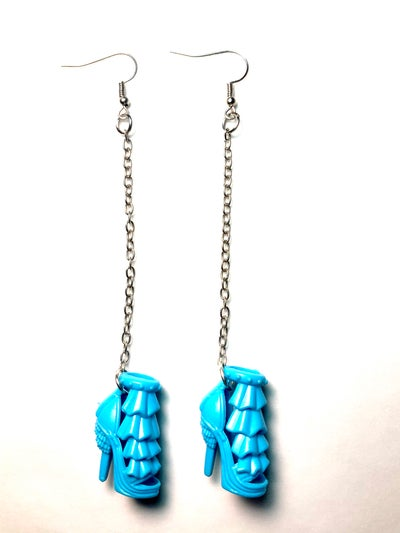 Image of Blue Ruffle Barbie Shoe Earrings