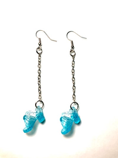Image of Blue Sparkle Barbie Shoe Earrings