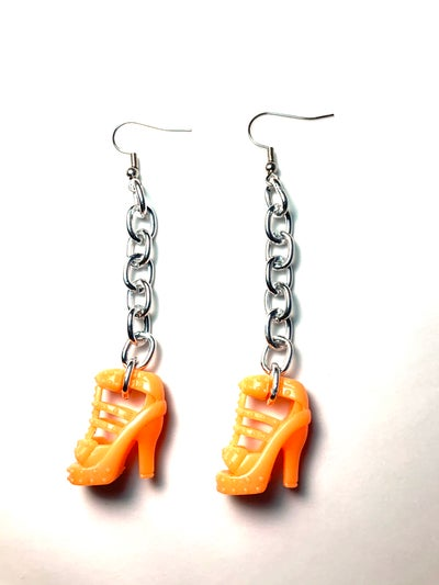 Image of Small Chain Orange Barbie Shoe Earrings