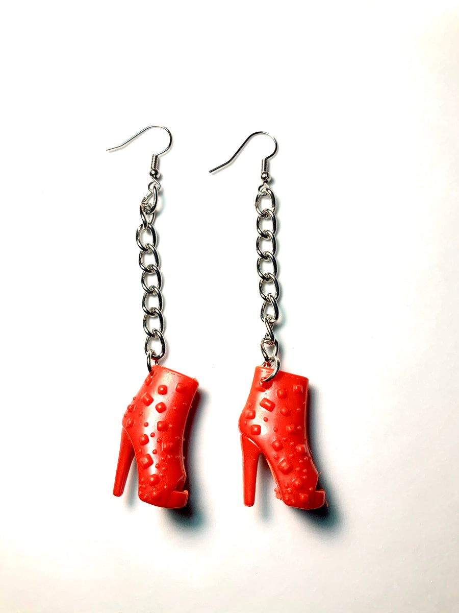 Image of Red Boots Barbie Shoe Earrings