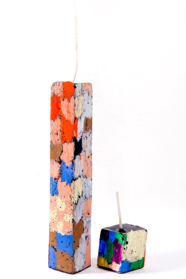 Image of Tall Stack Tower Mother & Child in pink, blue, brown, grey, black, red, aubergine, green & orange
