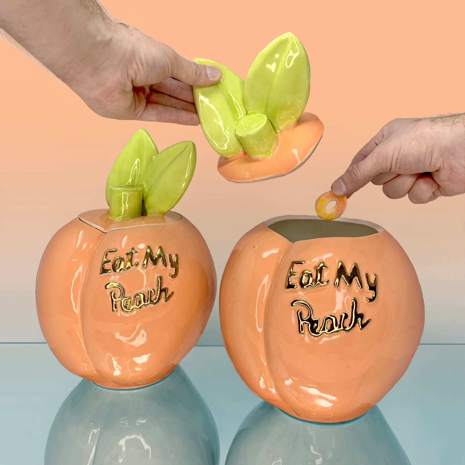 Image of Eat My Peach Cookie Jar with 22Kt Gold