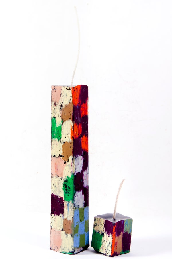Image of Stack Tower Mother & Child in yellow, aubergine, black, green, brown, red, grey, blue, clay pink