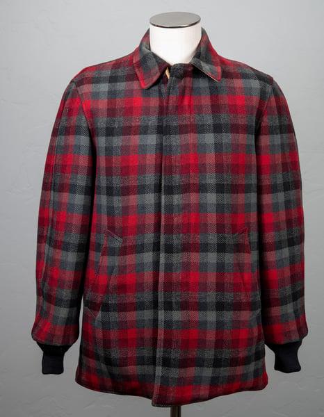 Image of Vintage 1950's Pendleton Men's Shadow Plaid Wool Cruiser Jacket Black Red Gray Dark Gray Size Large