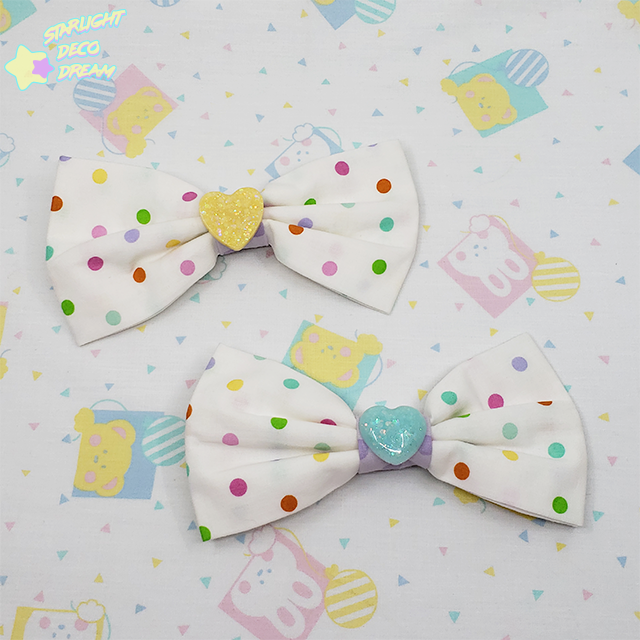 Image of Cotton Polka Dot Hair Bow Alligator Clip Bow