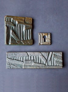 Image of Brutalist Bronze Push or Pull Door Handle Set with Abstract Design 20th Century