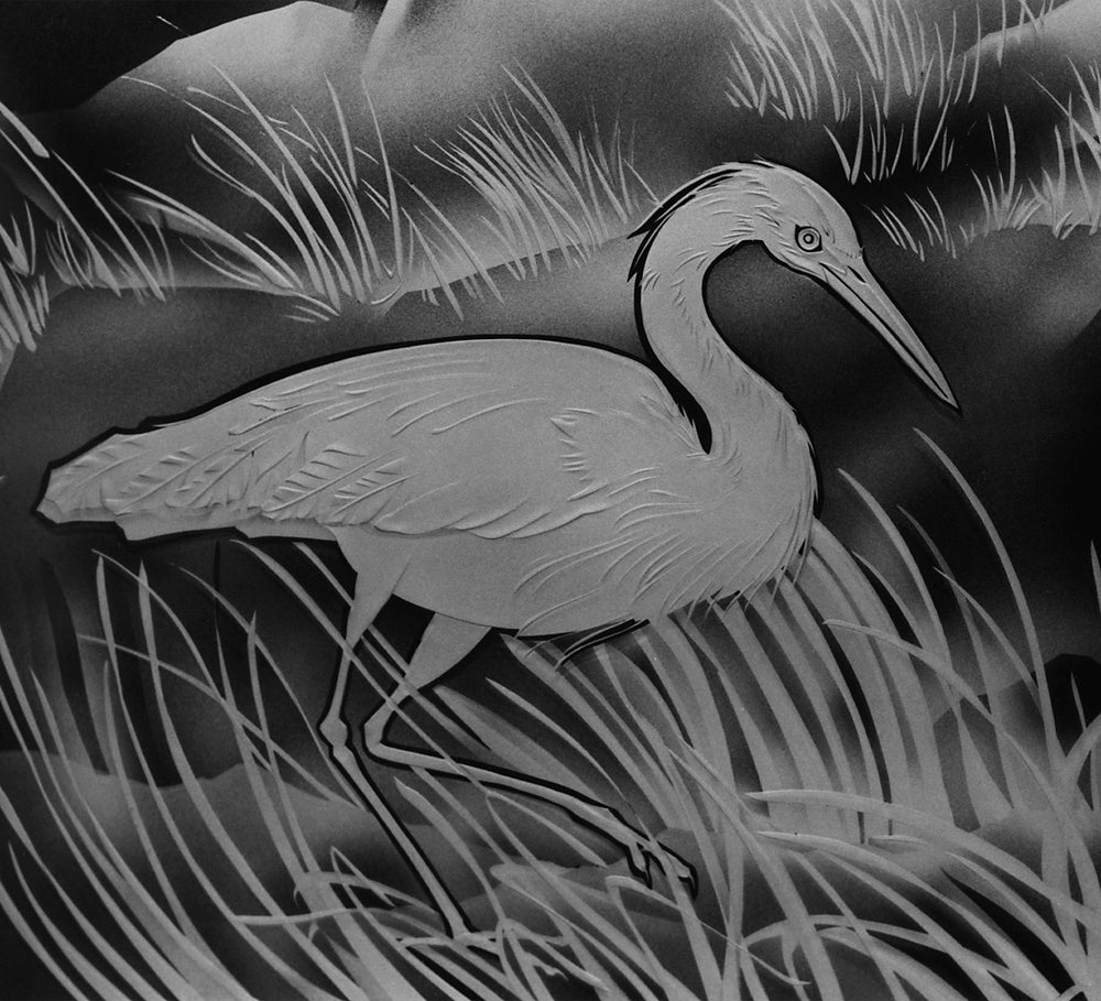 Image of Heron Black and White Note Cards