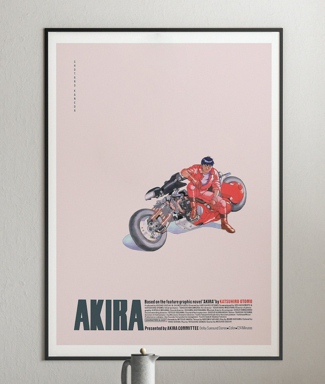 Kaneda on Bike - Akira Anime Poster, Cyberpunk Movie Poster