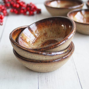 Image of Three Small Ceramic Pottery Bowls, Kitchen Prep Handcrafted Made in USA