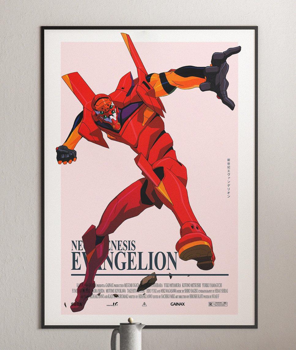 Unit 02 - Neon Genesis Evangelion, Cyberpunk Anime Poster