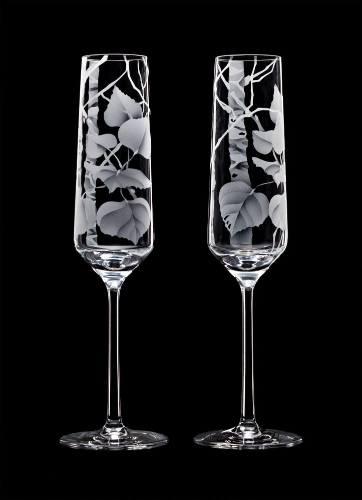 Image of Aspen Leaves Champagne Flutes