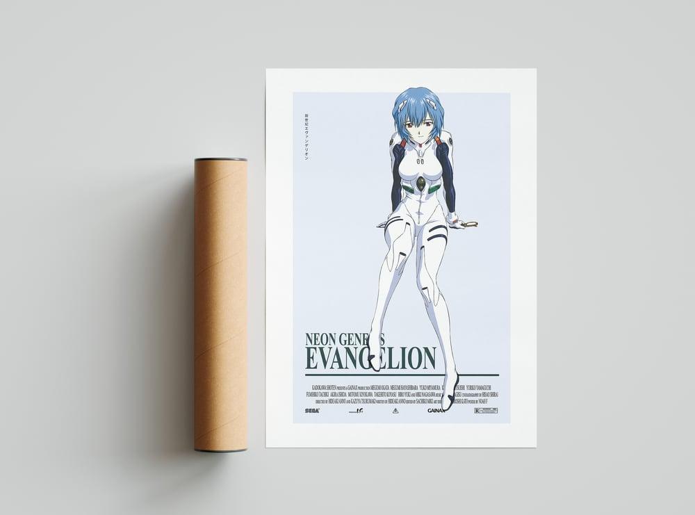 Rei Ayanami - Neon Genesis Evangelion, Cyberpunk Anime Poster