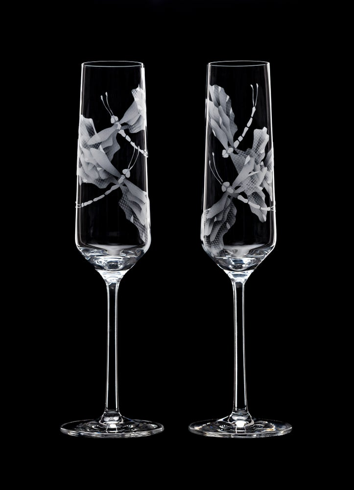 Image of Dragonflies Champagne Flutes