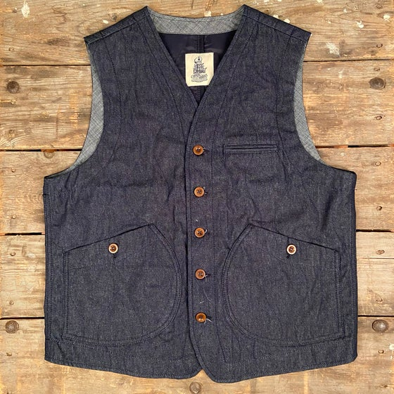 Image of CAPTAIN SANTORS VEST CP432 DENIM TRAPUNTA