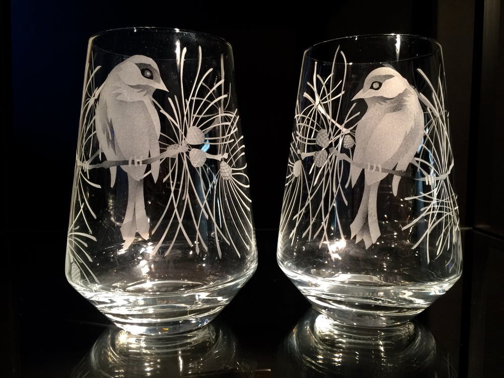 Image of Chickadee in the Pines Stemless Wine Glasses