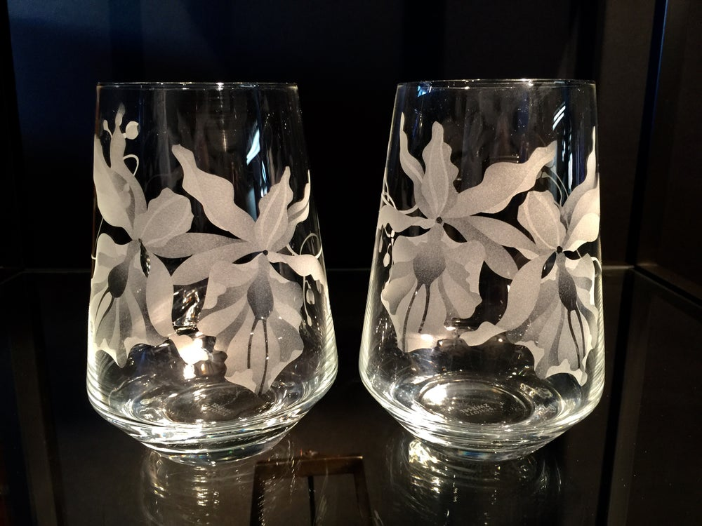 Image of Double Orchids Stemless Wine Glasses