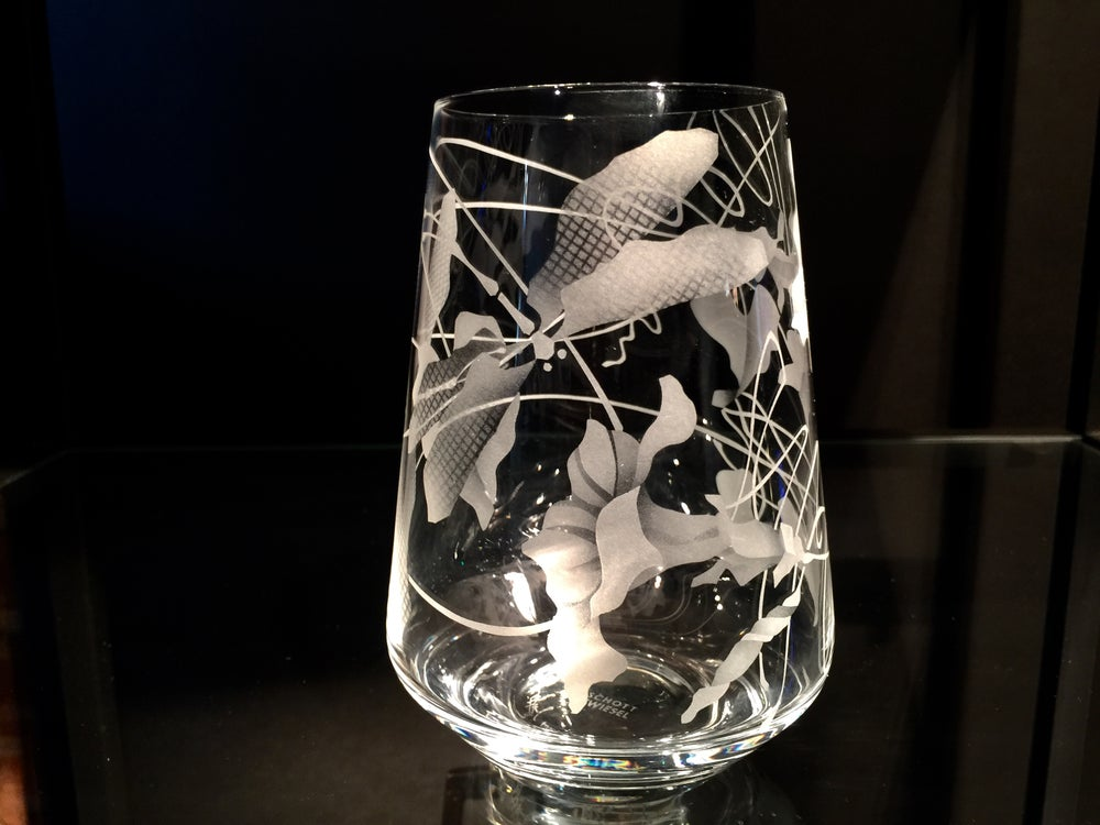 Image of Morning Glories with Dragonfly Stemless Wine Glasses