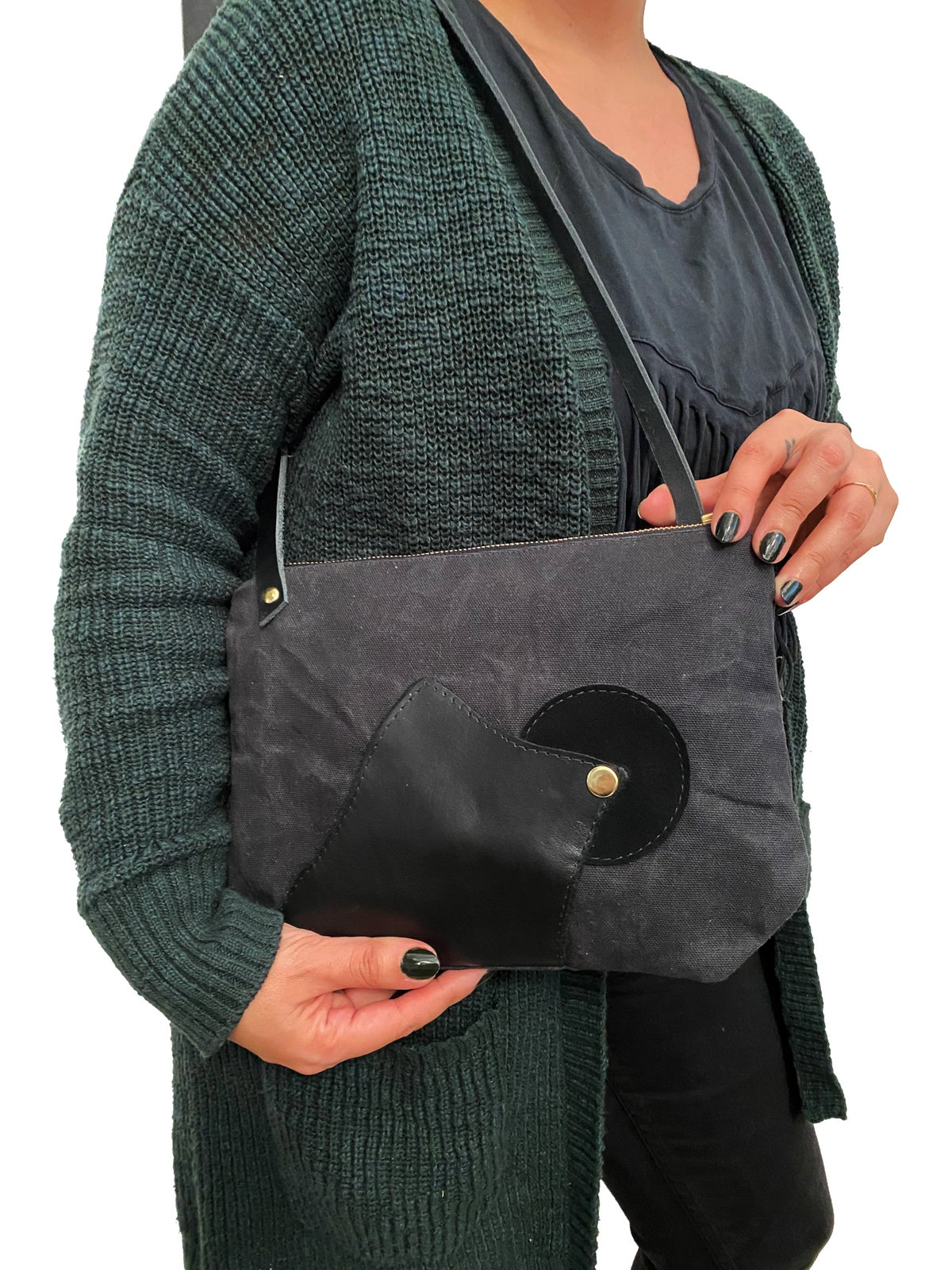 Piece Out- Black Waxed Canvas and Leather Medium Crossbody Bag