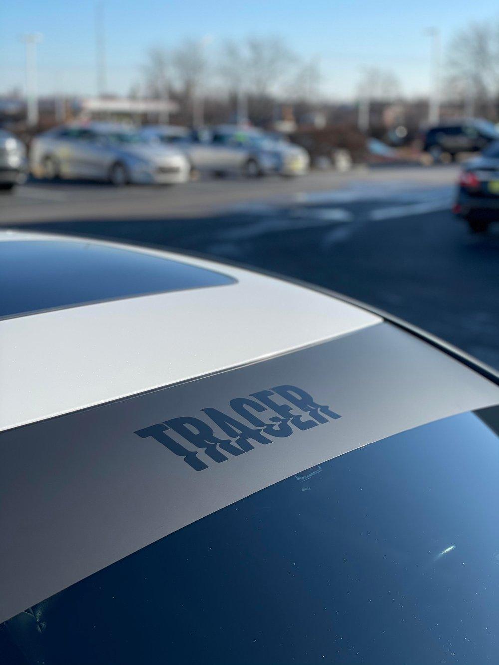 """""""tracer"""" minimalist windshield banner"""